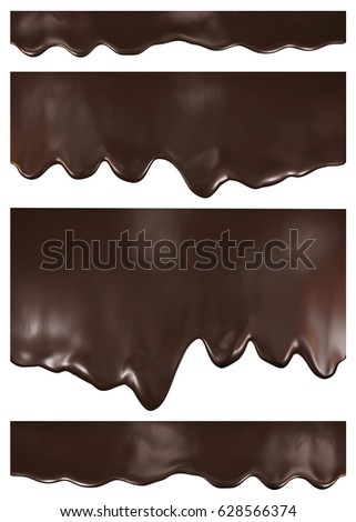 Chocolate stream set, isolated on white background