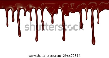Chocolate streams isolated on white - stock photo