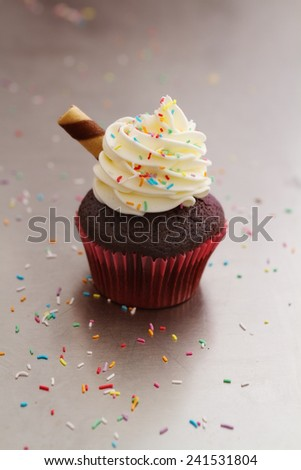 Chocolate sundae cupcake and color sprinkles on bench - stock photo