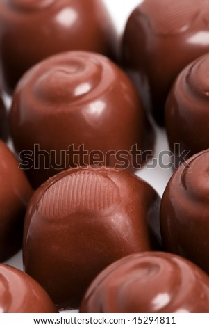 chocolate sweets closeup on a white background