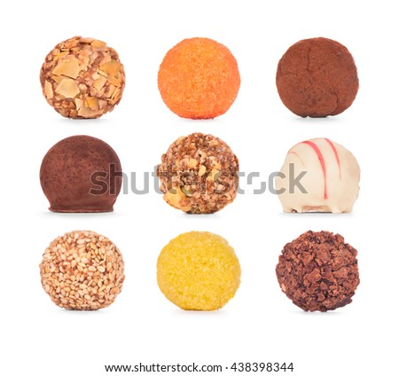 Chocolate sweets collection. Chocolate candies isolated on white background.  - stock photo