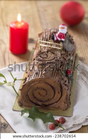 chocolate Swiss roll cake --christmas chocolate yule - stock photo