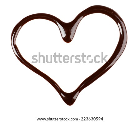Chocolate syrup drips in shape of heart isolated on white - stock photo