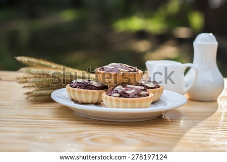 chocolate tart in dish on wood table. - stock photo