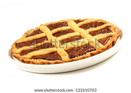 chocolate tart on a white background