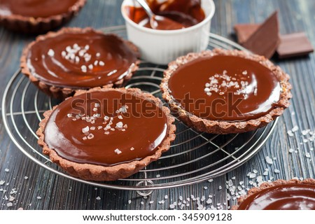 chocolate tarts with salted caramel on a dark wooden background in rustic style - stock photo