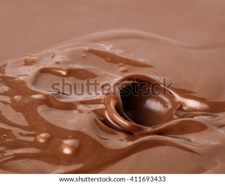 Chocolate. Template for the falling in the chocolate of berry or a piece of fruit