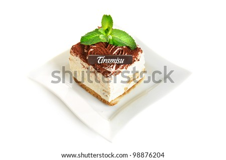 Chocolate tiramisu cake isolated on white - stock photo