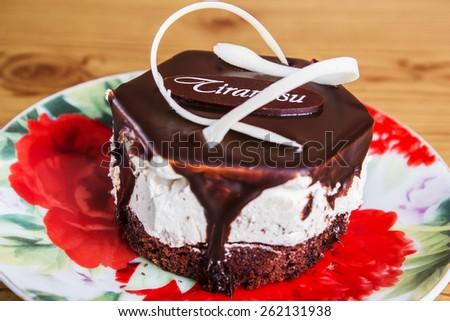 chocolate tiramisu decorated nicely labeled - stock photo
