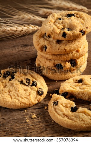 Chocolate toffee almond cookies  - stock photo