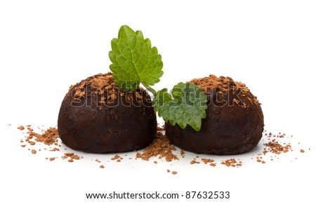 Chocolate truffle candy isolated on white background - stock photo