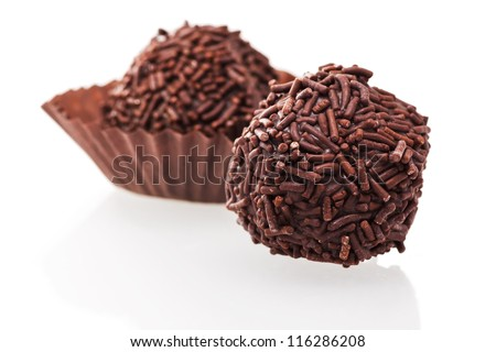 chocolate truffles isolated on white background - stock photo