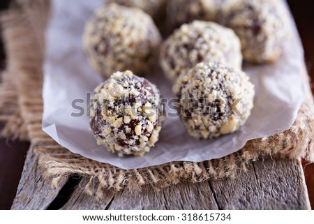 Chocolate truffles with peanut butter and milk chocolate - stock photo