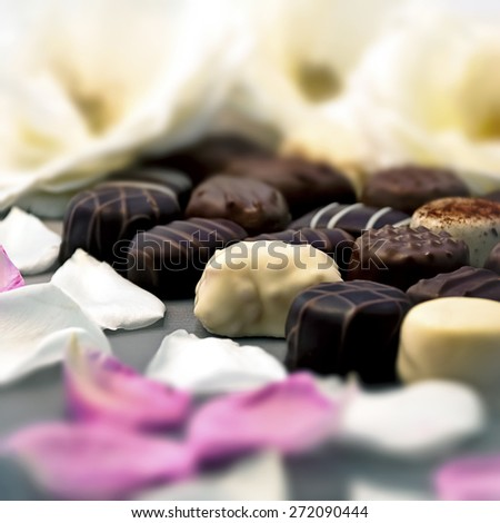 Chocolate truffles with white and pink rose petals - stock photo