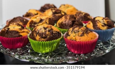 chocolate vanilla muffins - stock photo