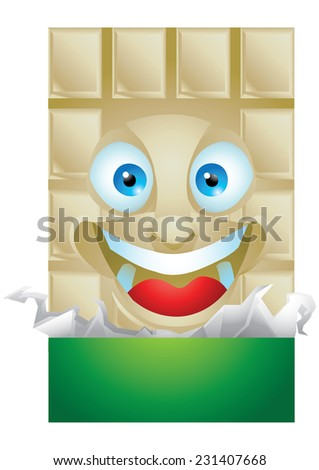 Chocolate vanilla wrapping cartoon character laughing isolated - stock photo