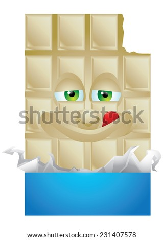 Chocolate vanilla wrapping cartoon character smiling isolated - stock photo