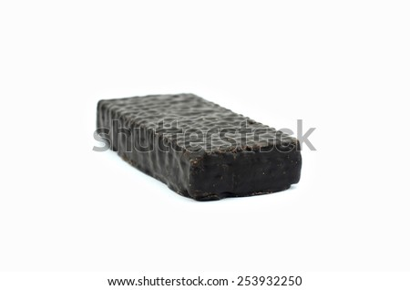 chocolate wafer candy on a white background - stock photo