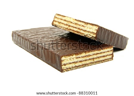 chocolate waffles isolated on a white - stock photo