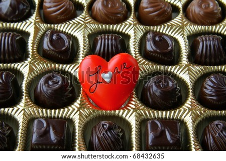 chocolate with a red heart on Valentine's Day - stock photo
