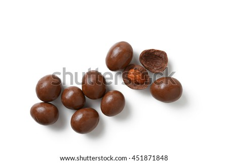 chocolate with almonds isolated on white
