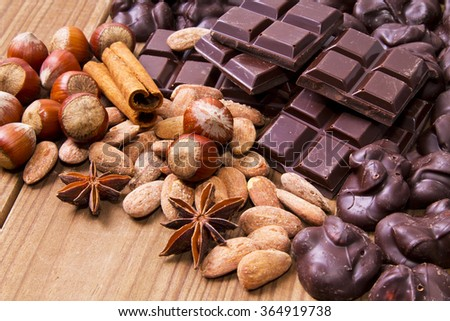 chocolate with anise and cinnamon - stock photo