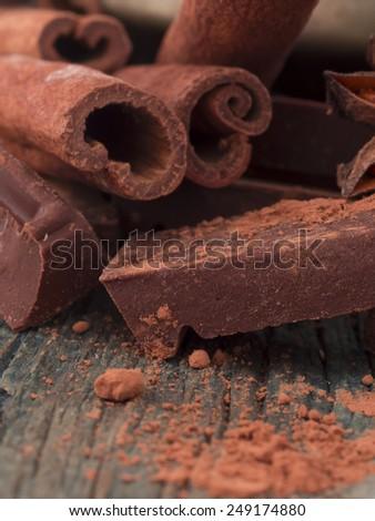 chocolate with cinnamon - stock photo