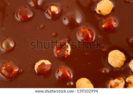 Chocolate with hazelnuts - stock photo