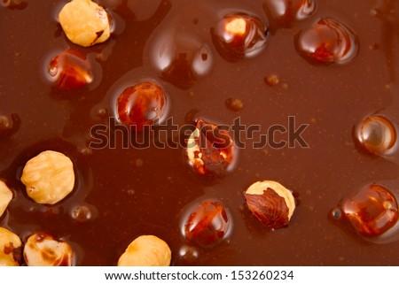 Chocolate with hazelnuts  - stock photo