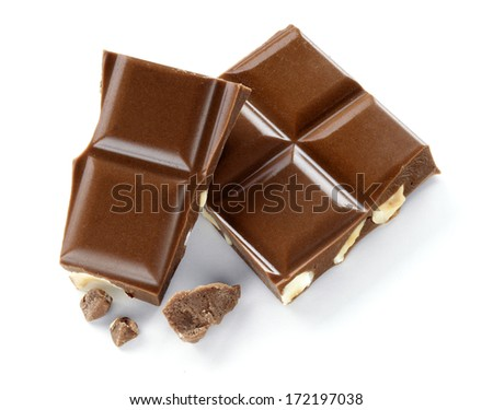 chocolate with hazelnuts portions isolated