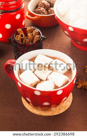 Chocolate with marshmallow in red polka dot cup