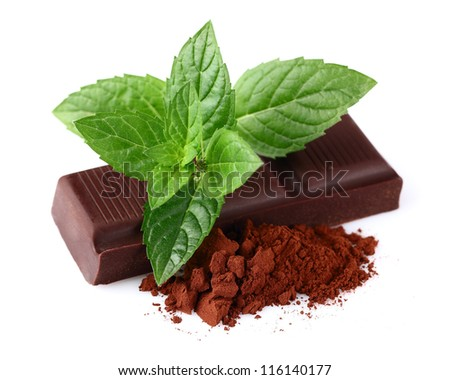 Chocolate with mint and heap of cacao