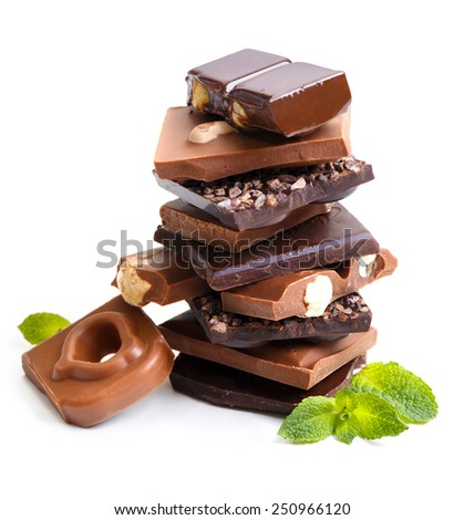 Chocolate with mint on white background - stock photo