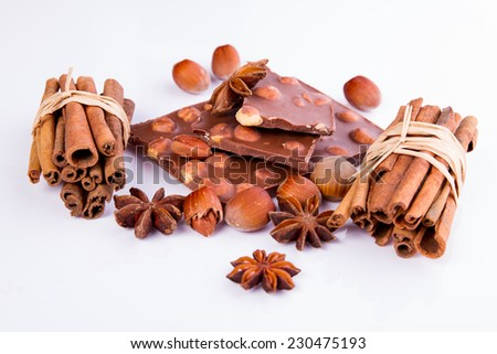 chocolate with nults on white background