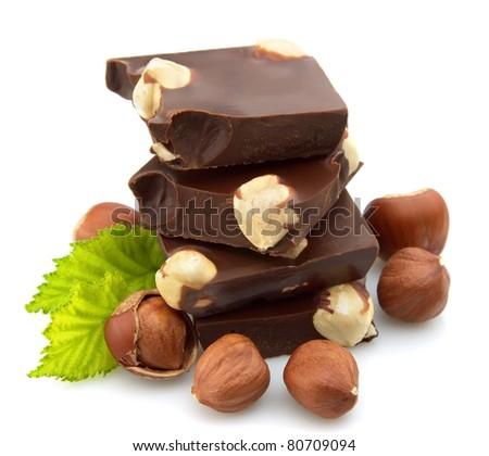 chocolate with nuts closeup - stock photo