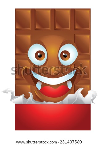 Chocolate wrapping cartoon character laughing isolated - stock photo