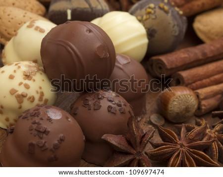 chocolated balls - stock photo