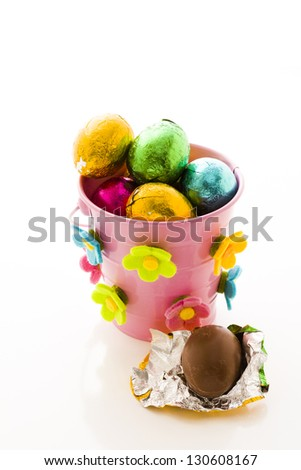 Chocolated Easter eggs wrapped in colorful foils.