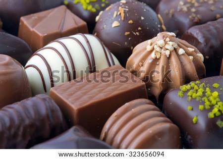 Chocolates background - stock photo