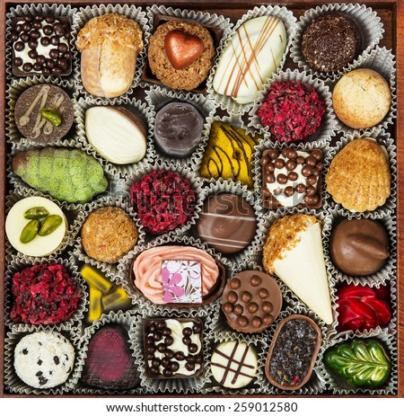 Chocolates Candy, closeup - stock photo