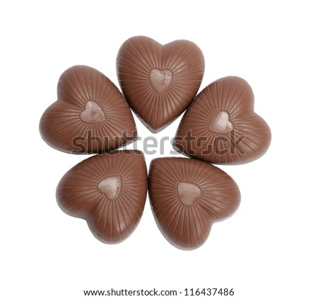 Chocolates heap against a white background (candy heart)