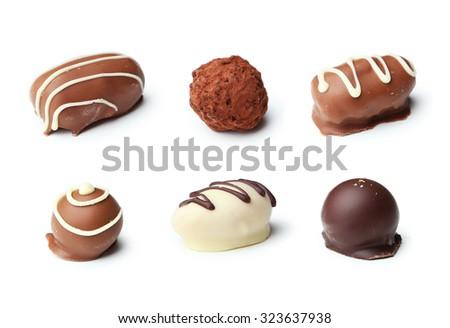 Chocolates isolated on white - stock photo