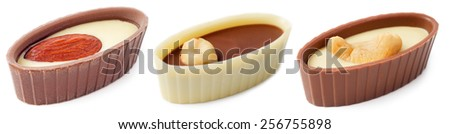 Chocolates with nuts isolated on white background  - stock photo