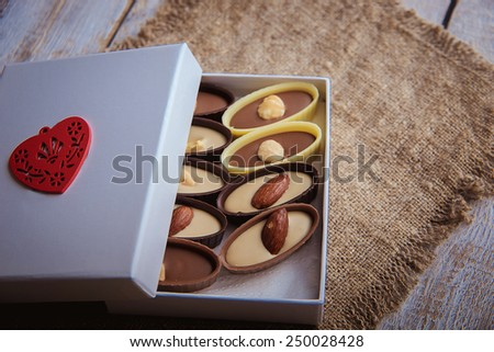 chocolates with symbol valentine - stock photo