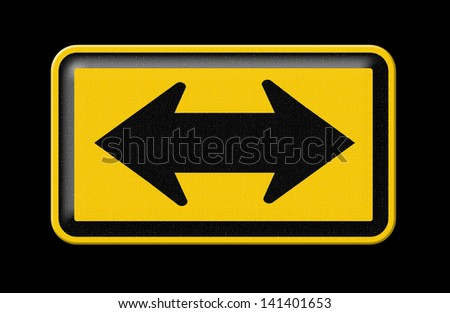 Choice a direction in life or business using the road metaphor and highway sign with a fork shaped traffic lane showing the concept , Part of a series.