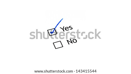 Choice between yes or no, checked yes - stock photo