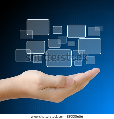 Choice button on hand - stock photo