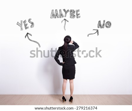 choice concept - Back view of business woman look white wall and think with yes or no choice - stock photo