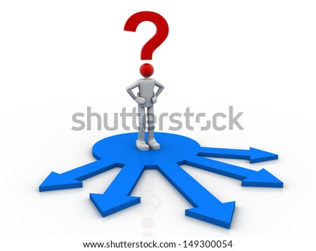 Choice Concept  business man and question mark