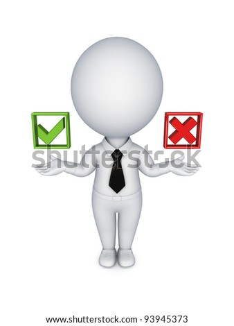 Choice concept. Isolated on white background.3d rendered. - stock photo
